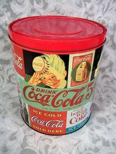 Sold Vtg COCA-COLA LARGE RED TIN
