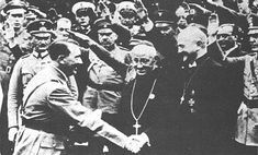Hitler with Reichs Bishop Muller and Abbot Schachleiter, surrounded by party bosses - Sept 1934.