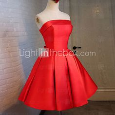 Cocktail Party Dress Ball Gown Strapless Knee-length Satin / Stretch Satin with Sash / Ribbon / Bandage 2017 - €68.59