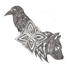 Wolf and Raven, kinda want a bear instead of a wolf though