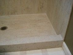 seamless-shower instal method with Corian from dupont Bathroom Renos, Bathrooms, Bathroom Ideas, Bath Ideas, Master Bathroom, Corian Shower Walls, Dupont Corian, Drop In Tub, Corian Solid Surface