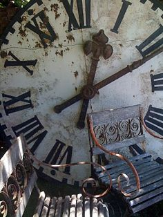 Big, Old Clock Face. Have I mentioned I love old things with patina? Big Clocks, Large Clock, Wall Clocks, Clock Art, Father Time, Somewhere In Time, Time Clock, Vintage Roses, Backdrops