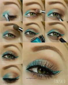 Tutorial for Ocean Summer Eyes #eyemakeup #eyeliner   - bellashoot.com #green