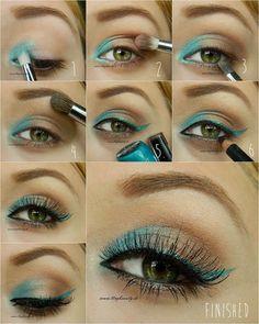 Tutorial for Ocean Summer Eyes #eyemakeup #eyeliner   - bellashoot.com #green
