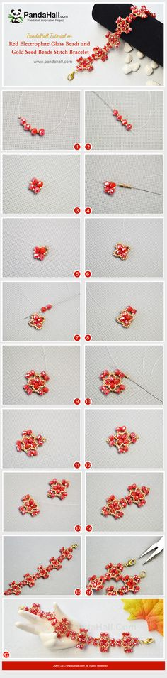 #PandaHall Inspiration Project---Red #ElectroplateGlassBeads and Gold #SeedBeads #StitchBracelet Stitch red electroplate glass beads and gold seed beads into several #chandelier shapes to form a bracelet.  #freetutorial #howto #diybracelet #jewelrymaking #weavestitch  PandaHall Beads App Privilege: 1% OFF for all products,download here>>>goo.gl/GuHxN1 when you first time join Pandahall, you can get $5 free coupon cash.