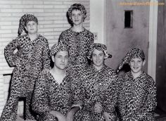 """Christmas Card Idea  """"This photo is circa 1959.  My mother had bolts of flannel fabric left when she dissolved a small toy business, so she made pjs for everyone!!!  Even my uncle had a pair, but he refused to be photographed.  This photo was included in our Christmas cards that year."""""""