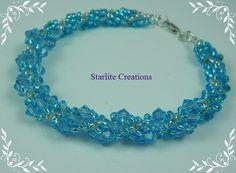 Swarovski Aquamarine Crystal Dutch Spiral Bracelet