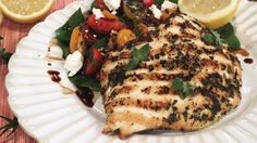 Lemon and oregano chargrilled chicken with puy lentil, feta and sundried tomato salad