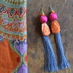 Silk Buddha Tassel Earrings « SilverBotanica – Handmade Jewelry designed by Alicia Hanson and Hi Octane Industries Inc.