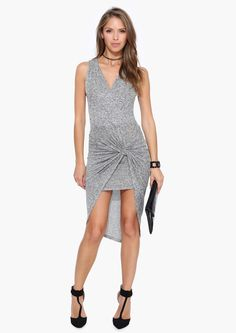 Knotted Chic Bodycon Midi Dress in Heather grey   Necessary Clothing