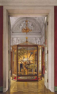 Konstantin Andreyevich Ukhtomsky Interiors of the Small Hermitage. 'Peacock' Clock in the Eastern Gallery