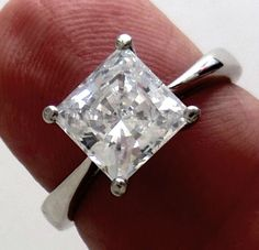 2cts Princess cut Giamond ENGAGEMENT RING SOLID 14k White Gold Cathedral Setting