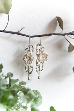 Art Nouveau wedding earrings - lotus flower earrings - sterling silver earrings - art nouveau jewelry - bridal earrings - long earrings by TheManerovs on Etsy