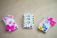 DIY Japanese decoden embellished phone cases, with a tutorial just for you! The best part of this project is that you can truly personalize it to your taste and sense of style. There's no way to go wrong! Decoden Phone Case, Diy Phone Case, Cool Phone Cases, Iphone Cases, Phone Covers, Hello Kitty Themes, Diy Tumblr, Diy Nail Polish, Diy Fashion
