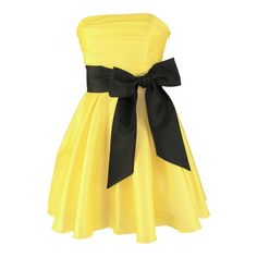 Millie Yellow Bow Mini Dress ❤ liked on Polyvore featuring dresses, vestidos, robes, yellow, bow dress, yellow mini dress, bridesmaid dresses, short dresses and mini dress