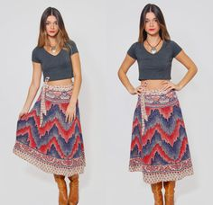 Vintage 70s WRAP Skirt INDIAN Cotton Belted Hippie Midi Skirt by LotusvintageNY