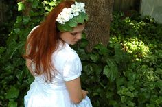 Circlet with White Flowers and Leaves by TheEvergreenNest on Etsy, $28.00