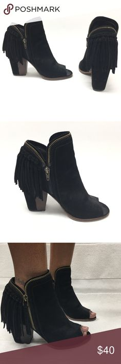 """Dolce Vita Peep Toe Fringe Bootie Fringe is in! Perfect for the spring and festival season! Soft suede black peep toe bootie with a chain-link trim and back fringe that gives it a nice boho look! The heel height is 3.5"""", boot shaft 7"""", inner side zipper which is an easy access to get into the shoe! Dolce Vita Shoes Ankle Boots & Booties"""