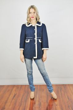 Vtg 90s 60s Inspired Blue White Nautical Juicy Couture Mod Jacket Coat M L | eBay