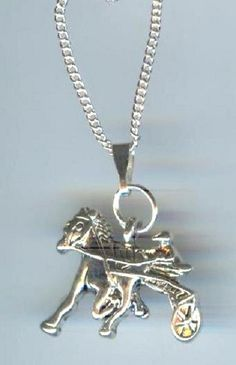 Cute! Silver Plated, Race HORSE with Driver and Sulky, Standardbred Charm Pendant & Necklace - M772 on Etsy, $9.00