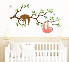 Branch and Sloth Wall Decal, Sloth and Branch Fabric Wall Decal Boy And Girl Shared Bedroom, Baby Boy Rooms, Baby Boy Nurseries, Girls Bedroom, Bedroom Stuff, Baby Room, Bedroom Themes, Nursery Themes, Nursery Decor