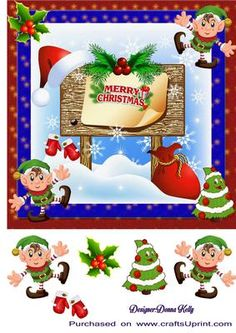 have an elfin good Christmas on Craftsuprint designed by Donna Kelly - cute children`s Christmas card , fun and colourful approx 7x7 card front. Includes decoupage, sentiment on card is Merry Christmas - Now available for download!