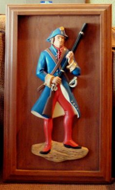 Vintage American Revolutionary War Soldier Ceramic Art Hand Painted with musket