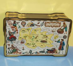Macfarlane Lang & Co Biscuit Tin. Pirates and Treasure Map Design. Treasure Maps, Treasure Chest, Lang Co, Glasgow Scotland, Jolly Roger, Map Design, Parrots, Fantasy World, Tins