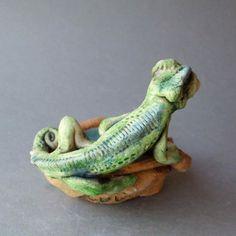 Chameleon Dish Whimsical Ceramic Sculpture by RudkinStudio on Etsy