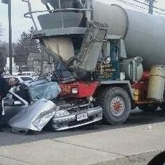 I cant stress enough how much it enrages me how little respect other drivers give to trucks on the road! Especially mixers! A fully loaded mixer is 80,000 lbs or 40 tons! Try stopping that when some jerk cuts you off or does something stupid on the road!! This is what will happen!! Give trucks extra space front rear and sides!!!!!!!