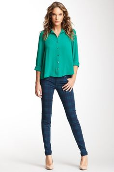 Genetic Denim Raquel Mid Rise Crop Plaid Cigarette Jean on @HauteLook $62, down from $220. js