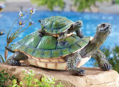 Catching A Ride Turtle Garden Statue
