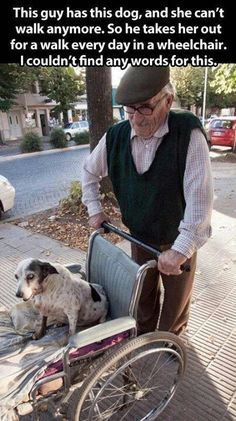 Poor baby, This elderly man's dog can't walks. So he takes him for a walk in his chair. Thats true love<3
