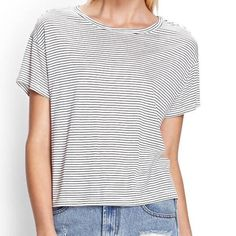 ☕️Boxy Striped Tee Not listed brand. This material is so soft and comfy just like Brandy Melville or American Eagles baby tees. White with black stripes, not sheer at all! Could fit a Small through Larger depending on the fit. I'm a size M and it's still a little boxy on me American Eagle Outfitters Tops Tees - Short Sleeve