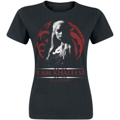 Daenerys Targaryen I Am Khaleesi ❤ liked on Polyvore featuring tops, t-shirts, print top, print t shirts, pattern tees, mixed print top and round neck t shirt