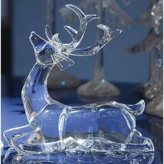 Ice Art, Christmas Deer, Christmas Items, Xmas, Ice Sculptures, Horse Sculpture, Glass Figurines, Glass Animals, Christmas Central