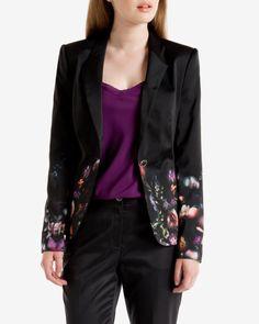 Shadow Floral printed jacket - Black | Suits | Ted Baker
