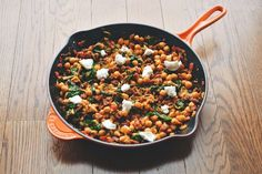 A Warm Pan of Chickpeas, Chorizo, and Chèvre (soy chorizo works too!)