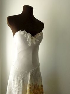 Garden Wedding Dress Tattered Golden California Bridal Gown - product images  of