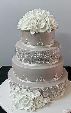 Celebration Cakes - Sydney's finest custom cakes since 1981 Bling Wedding Cakes, White Wedding Cakes, Elegant Wedding Cakes, Elegant Cakes, Wedding Cake Designs, Gorgeous Cakes, Pretty Cakes, Amazing Wedding Cakes, Amazing Cakes