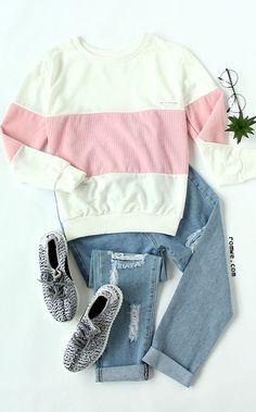 Color Block Patch Sweatshirt