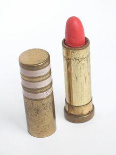Vintage Hot Coral Lipstick Tube/Vintage Fifties by goodiesoldies, $16.00