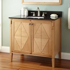 "// Vanity / Bathroom / Art Deco//  36"" Daryl Vanity for Rectangular Undermount Sink - Natural"
