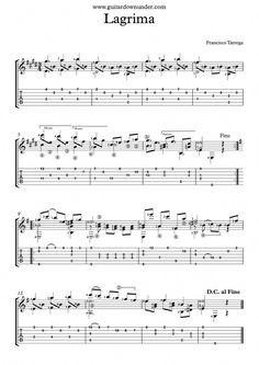 """Lagrima"" by Francisco Tarrega - Free classical guitar sheet music. ""Lagrima"" by Francisco Tarrega – Free classical guitar sheet music. ""Lagrima"" by Francisco Tarrega – Free classical guitar… - Flamenco Guitar Lessons, Basic Guitar Lessons, Guitar Lessons For Beginners, Blues Guitar Chords, Jazz Guitar, Guitar Songs, Classical Guitar Sheet Music, Music Tabs, Fingerstyle Guitar"