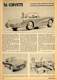 1956 Ad Chevy Corvette V8 225 HP C1 Car Convertible - ORIGINAL ADVERTISING
