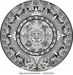 Mayan Calendar by RoseGarden, via Shutterstock Mayan Tattoos, Tribal Tattoos, Body Art Tattoos, Tatoos, Sleeve Tattoos, Aztec Tattoo Designs, Tribal Shoulder Tattoos, Ancient Aztecs, Aztec Calendar