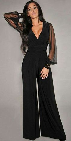936d7b4bcb5c6 Black Embellished Cuffs Long Mesh Sleeves Plus Size   Regular Size Jumpsuit