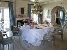Sharon and Ozzy Osbourne dining room from book Rachel Ashwell Shabby Chic Inspiration and Beautiful Spaces~ Shabby Chic Style & Inspiration ♥ #shabbychic