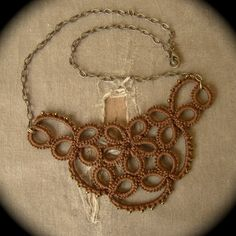 Tatted Lace Necklace - Studded Flower - Sepia Edition