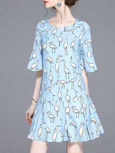 #AdoreWe #StyleWe Mini Dresses❤️Designer TCG Blue Printed Bell Sleeve Animal Print Mini Dress - AdoreWe.com